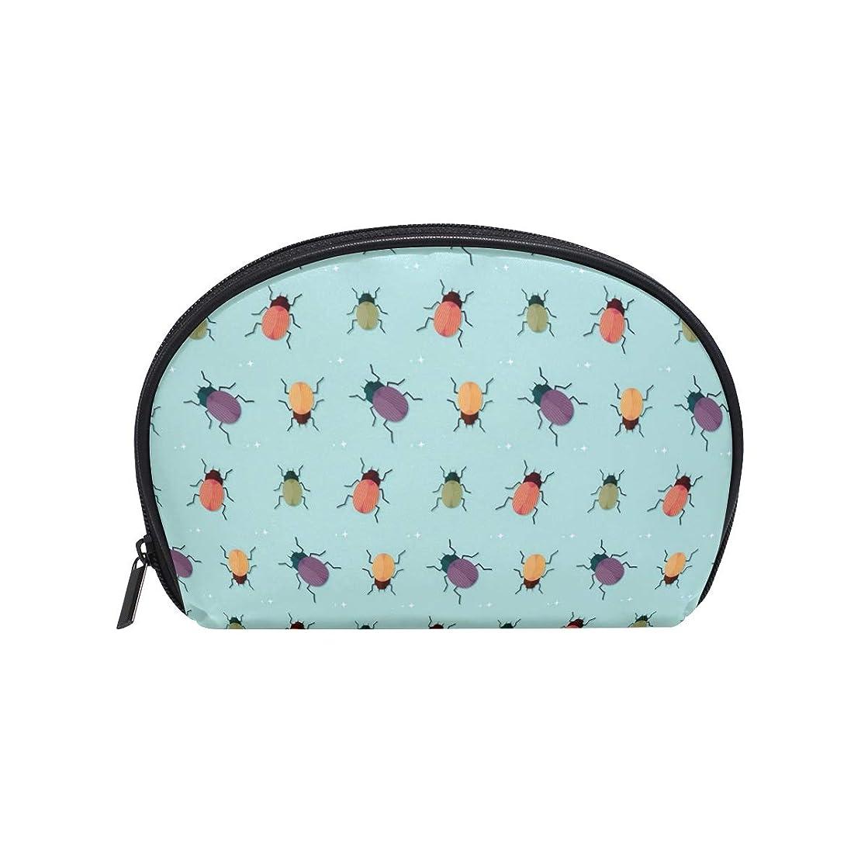 意志主観的国歌半月型 カブトムシ昆虫動物 化粧ポーチ コスメポーチ コスメバッグ メイクポーチ 大容量 旅行 小物入れ