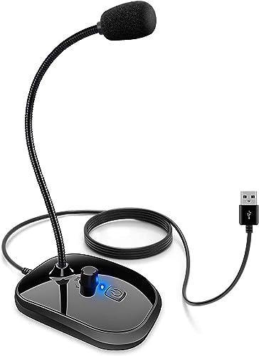 XIAOKOA Micrófono para PC,Micrófono USB,con Interruptor de Control de Volumen y Conector para Auriculares de 3,5 mm,p...