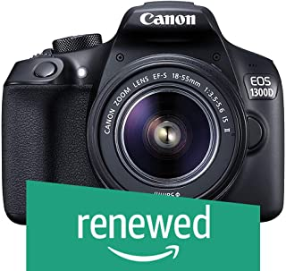 (Renewed) Canon EOS 1300D 18MP Digital SLR Camera (Black) with 18-55 and 55-250mm is II Lens, 16GB Card and Carry Case