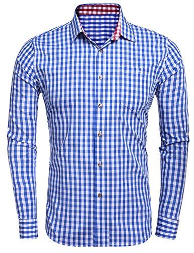 Burlady Trachtenhemd Herren gebürstet Baumwollehemden Karierte Hemd Karohemd Langarm Freizeit Hemden