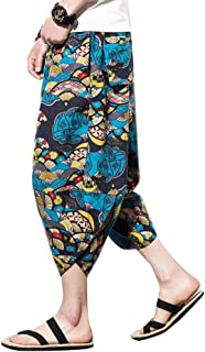 Man Chinese Style Hippie Loose Casual Large Size Wide Leg Pants Trousers with Pockets