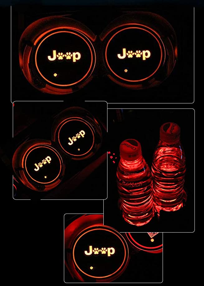 ZhengRong Car Logo LED Cup Pad led Cup Coaster USB Charging Mat Luminescent Cup Pad LED Mat Interior Atmosphere Lamp Decoration Light for Jeep (2 Piece) Logo 2