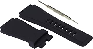 24mm Black Rubber Watch Band Strap - for Bell & Ross B&R BR-01 BR-03 - Free Spring Bar Tool