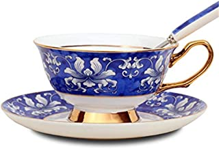 Haoyajia European Style Bone China Coffee Mug Afternoon Tea Coffee Cup With Saucer Ceramic Teasets For Gift Hand-Painted Flower Elegant Blue and White Porcelain Spoon
