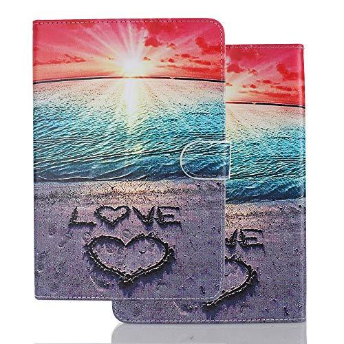 Funda para Samsung Galaxy Tab A 8.0 Pulgadas (2019) T290 T295 Carcasa de Cuero Silicona Tablet PC Smart Cover Case PU Premium Flip Wallet con Tapa Piel Tarjetero - Amor Playa