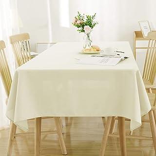 Deconovo Manteles de Mesa Rectangular Efecto Lino para Cocina 140 x 300 cm Beige