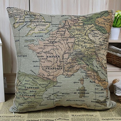 Coliang Mapa del mundo Funda de almohada, mapa del mundo europeo, colorido Francia cojines fundas de almohada 45 x 45 cm [sin relleno] – Mapa del mundo, algodón, World Map, 45x45CM[No Insert]