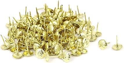 Sellify 7/16 Inch Dia Daisy Head Thumbtack Upholstery Decorative Nail Tack Gold Tone 150PCS