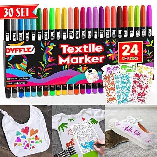 DYFFLE Textilstifte Waschmaschinenfest | 24 Stoffmalstifte Waschfest, Textilfarbe Stifte, Textilmalstifte Für Textilien (wie Z.b. DIY T-Shirt, Schuhe Und Beutel) Inkl. 4 Neon UV Stifte Shirt