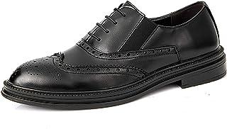 DADIJIER Oxfords Vestido Derby Zapatos de Derby Patente para Hombres 4-Ojos Lace Up Brogue Wing Tips Gusets elásticos en l...