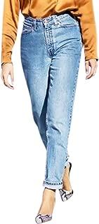 BoodTag Women Denim Jeans Straight Leg Pants Knit Leisure Trousers Full Length