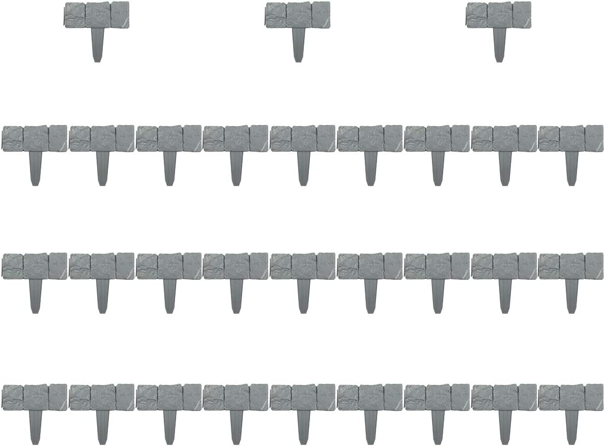 XQK Online limited product Stone Effect Plastic 35% OFF Lawn DIY Fence Collapsibl Set Gardening
