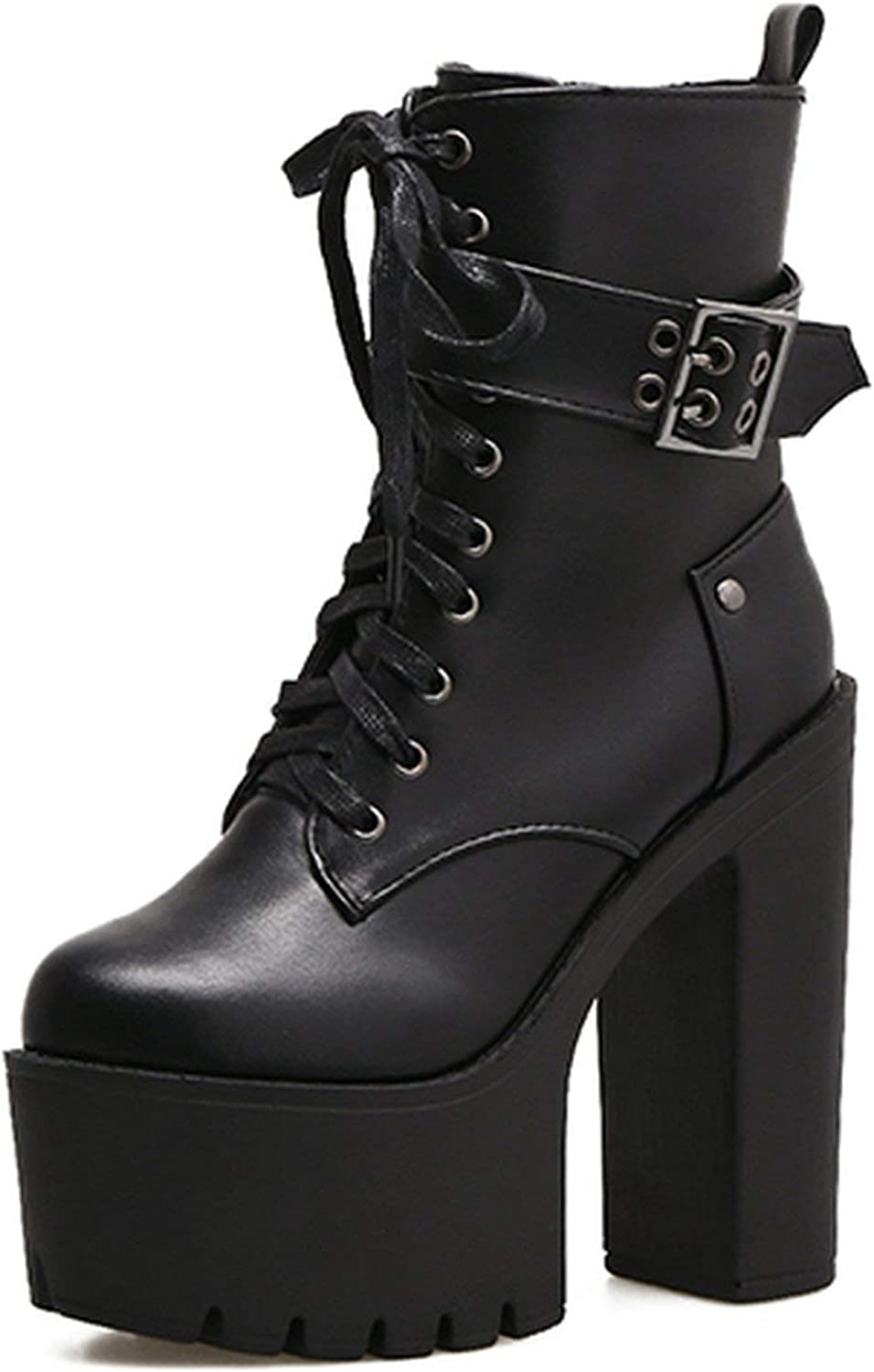 Summer-lavender Ankle Boots Platform shoes Round Toe Autumn Boots Thick High Heels Lacing Buckle Black Punk Boots