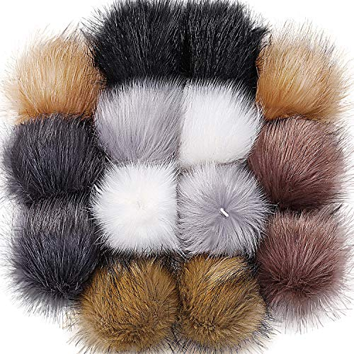 Bememo 14 Pieces Hat Faux Fur Pom Pom Ball DIY Faux Fox Fur Pompom for Hats Shoes Scarves Bag Charms (Popular Mix Colors)