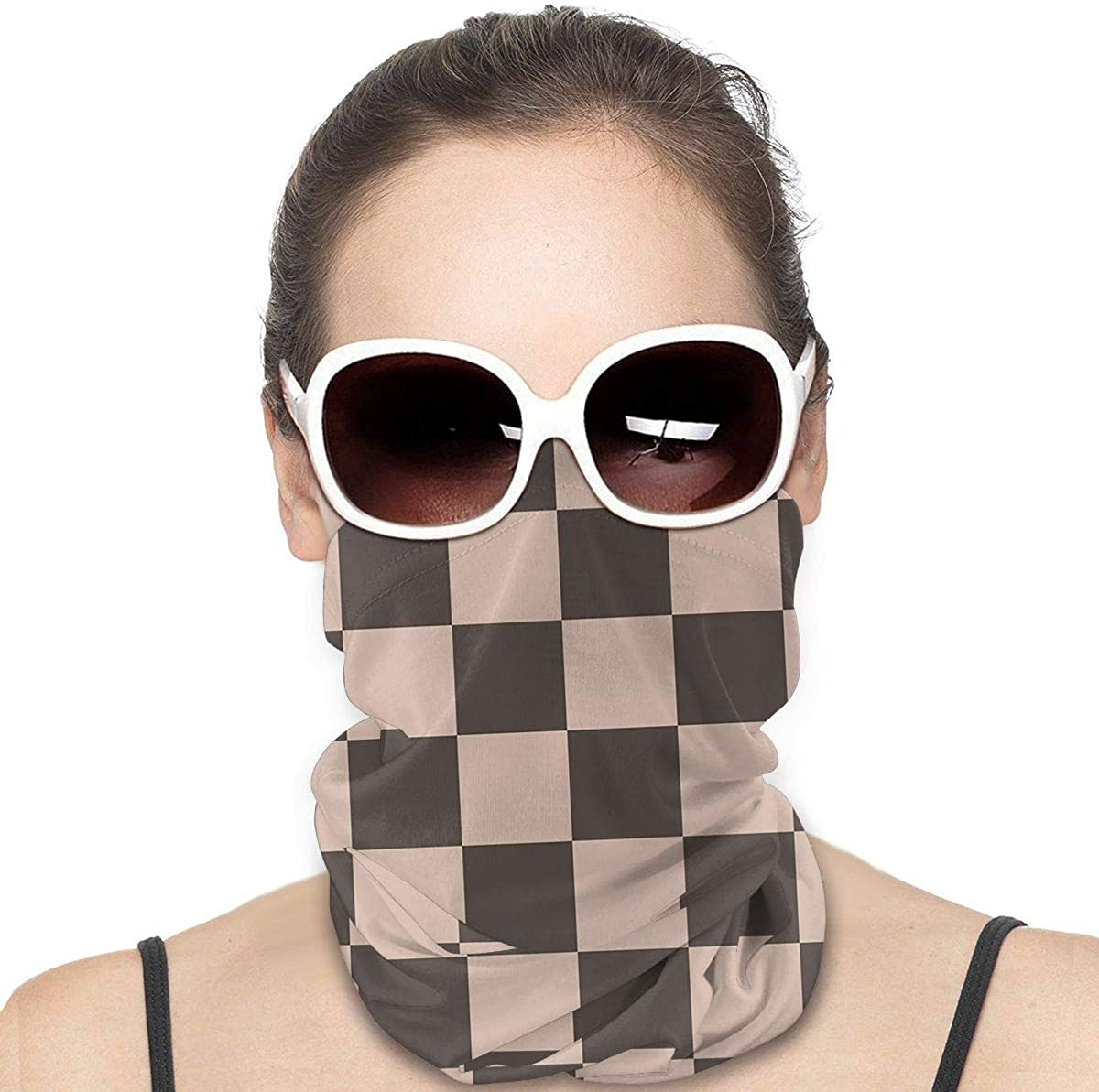 KiuLoam Women Bandanas Face Mask, Vintage Checkered Plaid Neck Gaiter Mask Headband for Men Face Scarf Dust, Outdoors, Sports