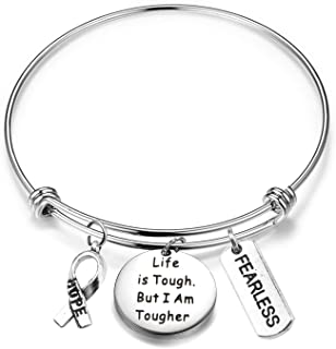 MAOFAED Cancer Survivor Gift Cancer Fighter Gift Life is Tough But I am Tougher Cancer Awareness Inspirational Gift Awaren...