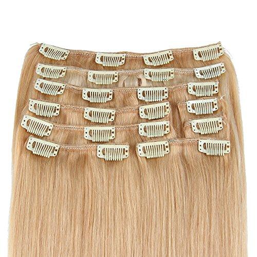 Beauty7 120g Extensions de Cheveux Humains à Clip 100% Remy Hair #16 Couleur Blonde Foncé Longueur 50 cm