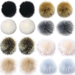 Jetloter 16pcs Faux Fox Fur Fluffy Pompom Ball Mix Colors for Hats Shoes Scarves Bag Charms Accessories