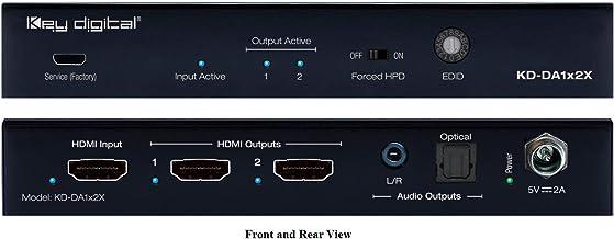 Key Digital KD-DA1x2X 1x2 4K 18G HDMI Distribution Amplifier with L/R Optical Audio & De-Embedded Audio Output