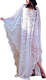 Women Sexy Lace Crochet Open Front Swimsuit Beach Long Kimono Cover Ups