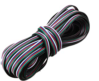 uxcell® RGB Wire 22AWG 5 Pin 5 Color Extension Cable Line for LED Strip 5050 3528 Cord 33ft / 10m