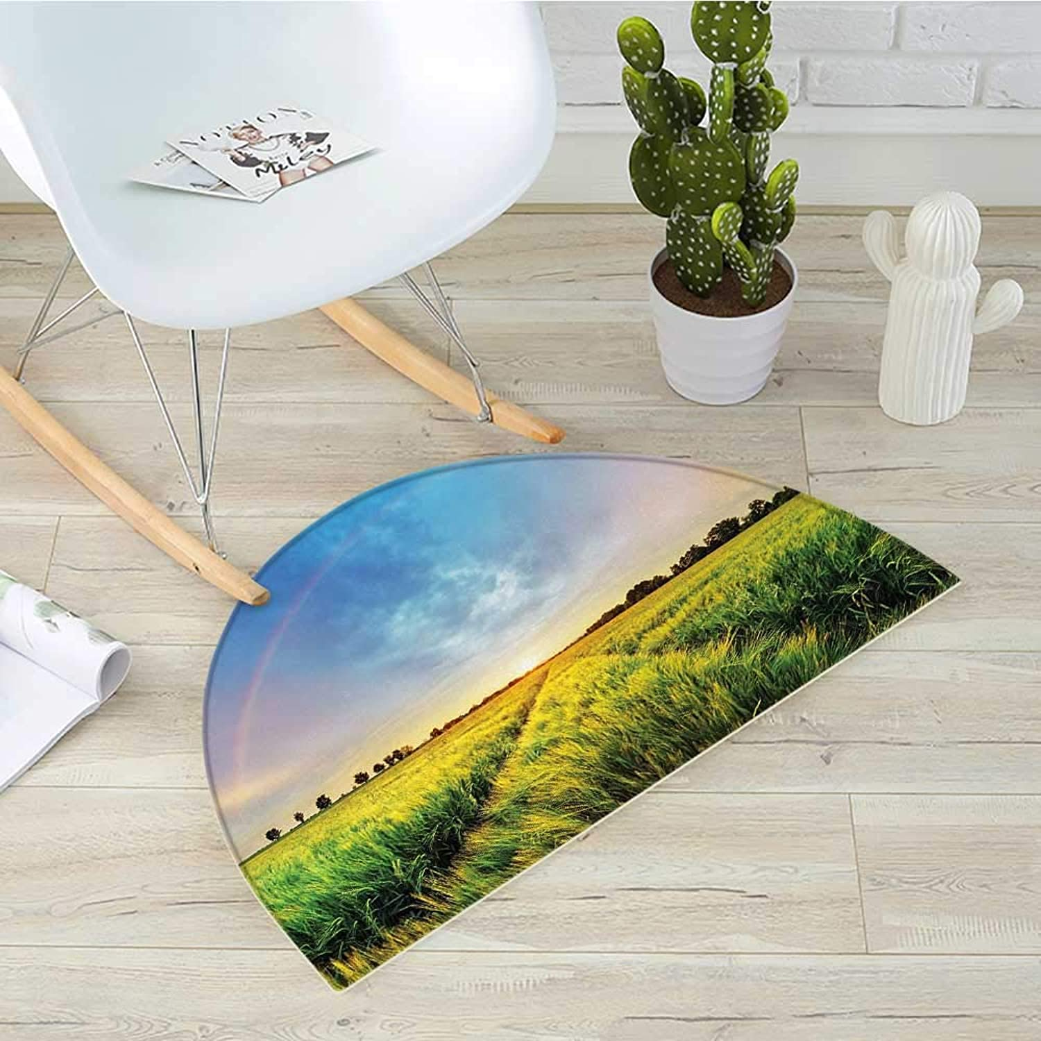 Rustic Semicircle Doormat Rainbow in Sky Over Wheat Field at Sunset Natural Paradise Rural Life Illustration Halfmoon doormats H 51.1  xD 76.7  Green Yellow