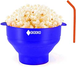 Microwave Popcorn Popper Bowl | + BONUS GIFTS: Reusable Silicone Straw & Cleaning Brush | Healthy Pop Corn |100% Silicone ...