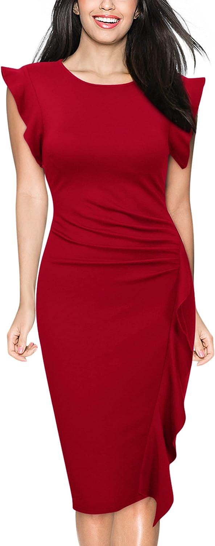 Miusol Women's Business Retro Ruffles Slim Cocktail Pencil Dress