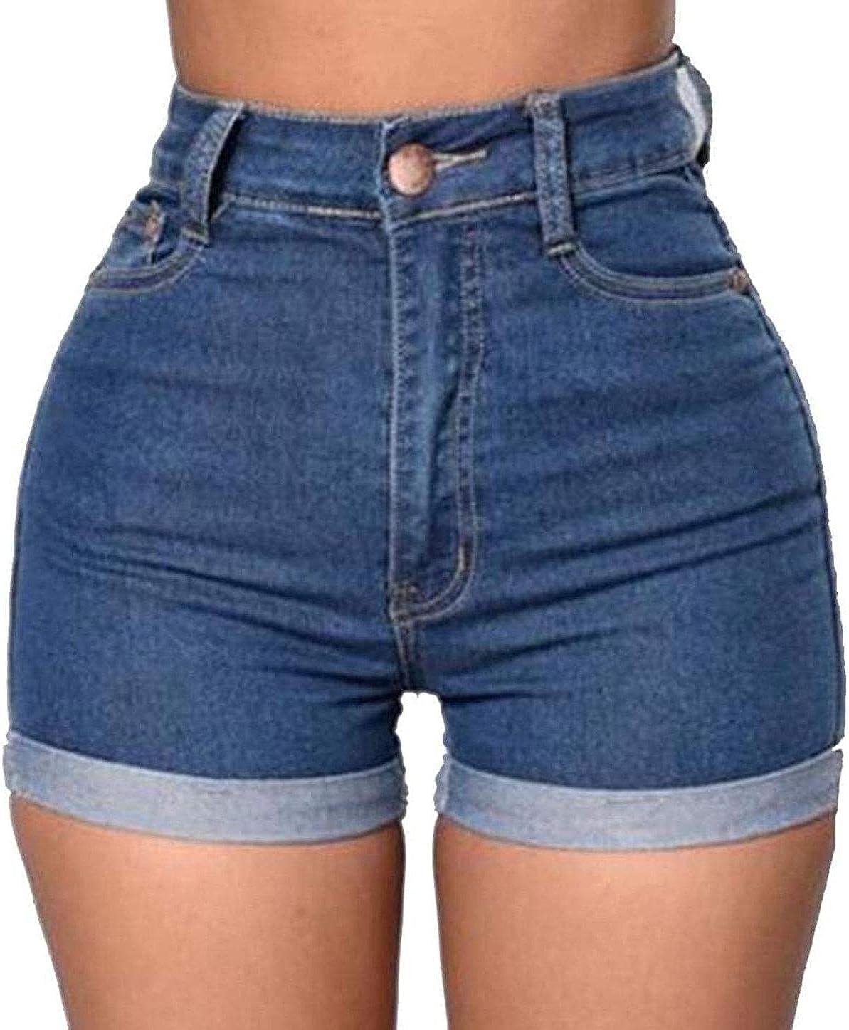 Womens Juniors Vintage Denim High Waisted Folded Hem Jeans Short