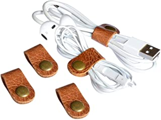 CAILLU cord organizer,cord keeper,USB holder,cable management,cable Straps,earbud case,wrap headphone,headset winder,Phone earphone clips ties,Tiny leather gifts gadget 5