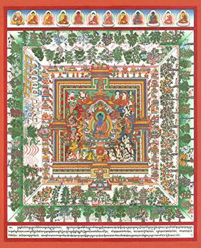 Thangka Medizinbuddha Mandala Druck Kunstdruck Reproduktion 57x70 cm