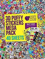 40 Verschiedene Stickerbögen für Kinder & Babys, Sticker für Mädchen, Jungen und Babys von Purple Ladybug, mehr als 950 3D Sticker: Tiere, Smileys, Autos, Buchstaben, Sterne und mehr