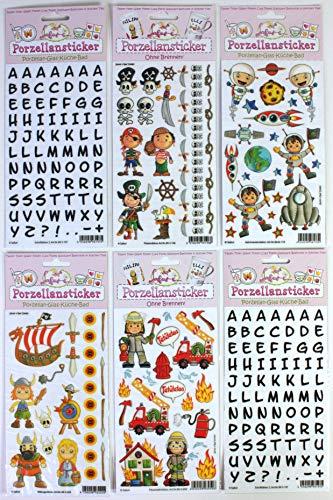 Porzellansticker-Set 14, Wikinger, Pirat, Feuerwehr, Astronaut, 2x Schrift Schwarz + Gratis Anleitungsbuch