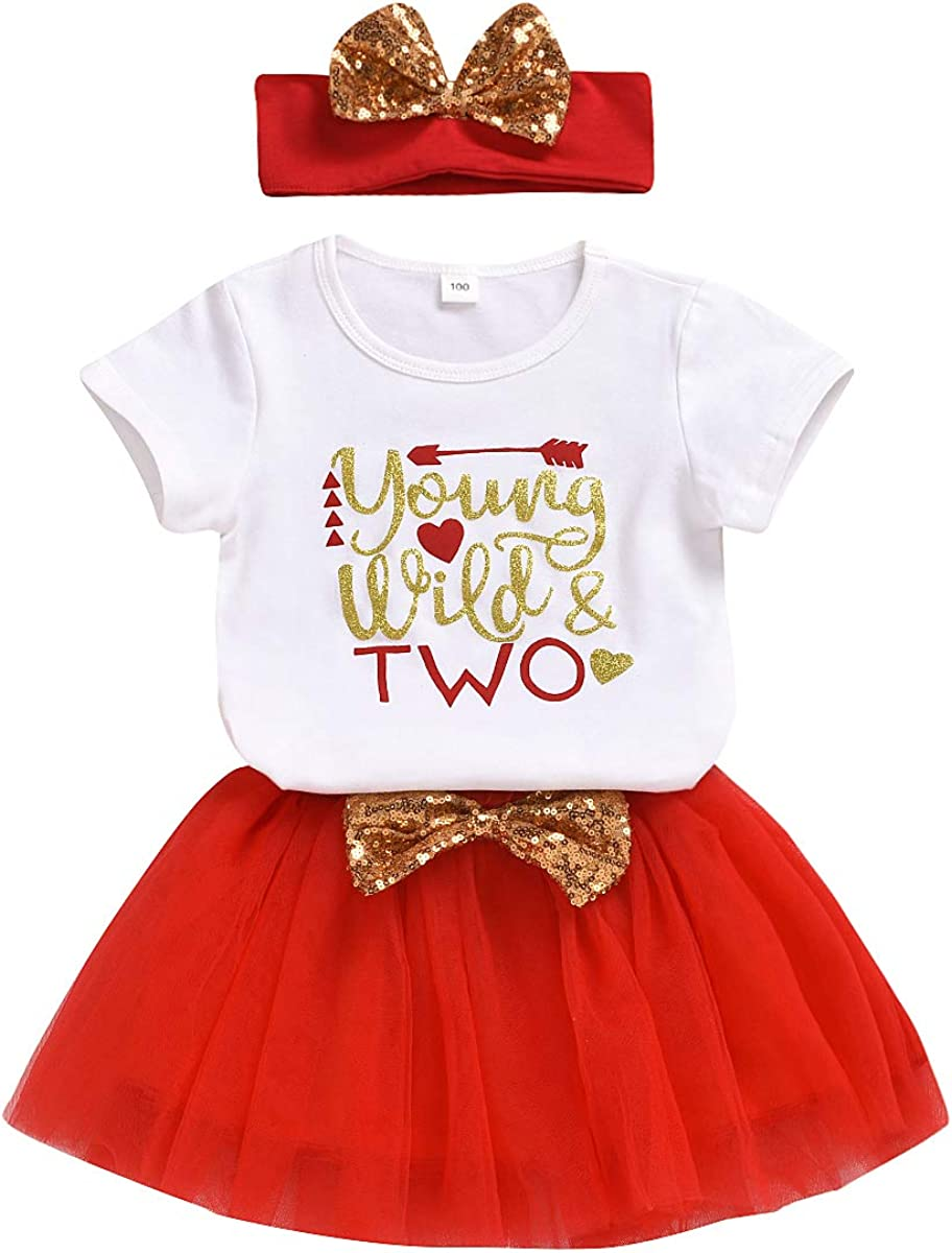 Toddler Baby Girls Birthday Tutu Skirt Set Short Sleeve Wild Two T-Shirt + Tulle Dress Outfits with Headband