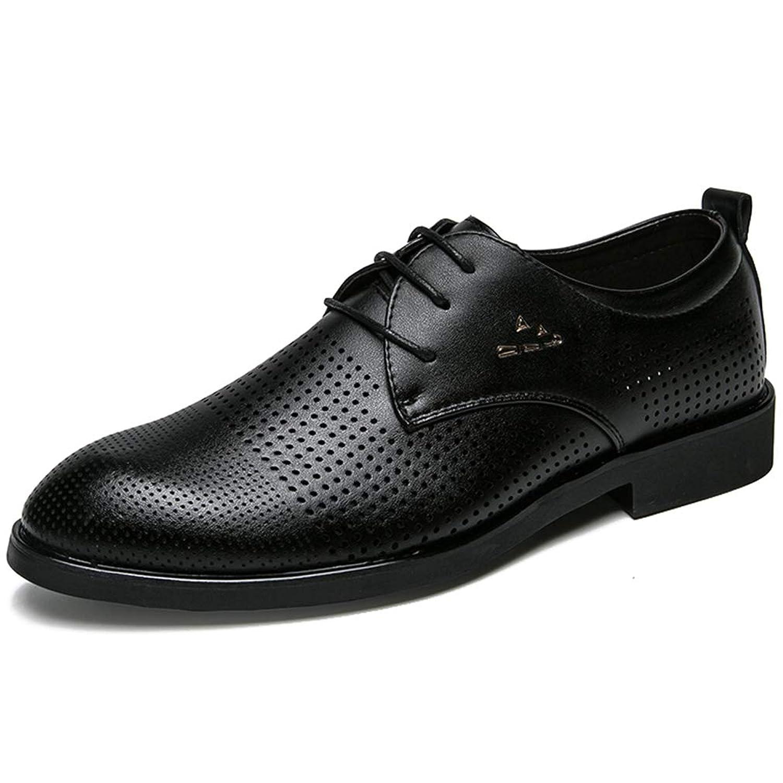 [WEWIN] ビジネスシューズ メンズ レザー 革靴 メッシュ ビジネスサンダル カジュアル 外羽根 黒 ウォーキング 紳士靴 軽量 快適 蒸れない 防臭 通気性 ファッション