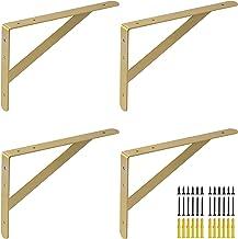 Gouden hoekrek voor zware lasten 500 x 330 mm, voor zware belasting, metalen hoek van plat staal, 5 stuks, plankdragers pl...