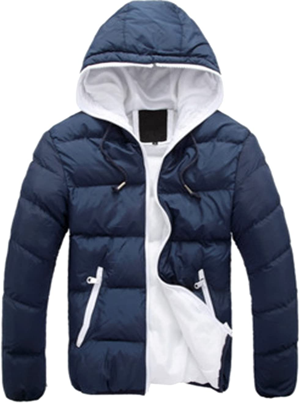 S&S Mens Warm Winter Candy Colors Contrast Lining Thicken Warm Puffer Compressible Jackets
