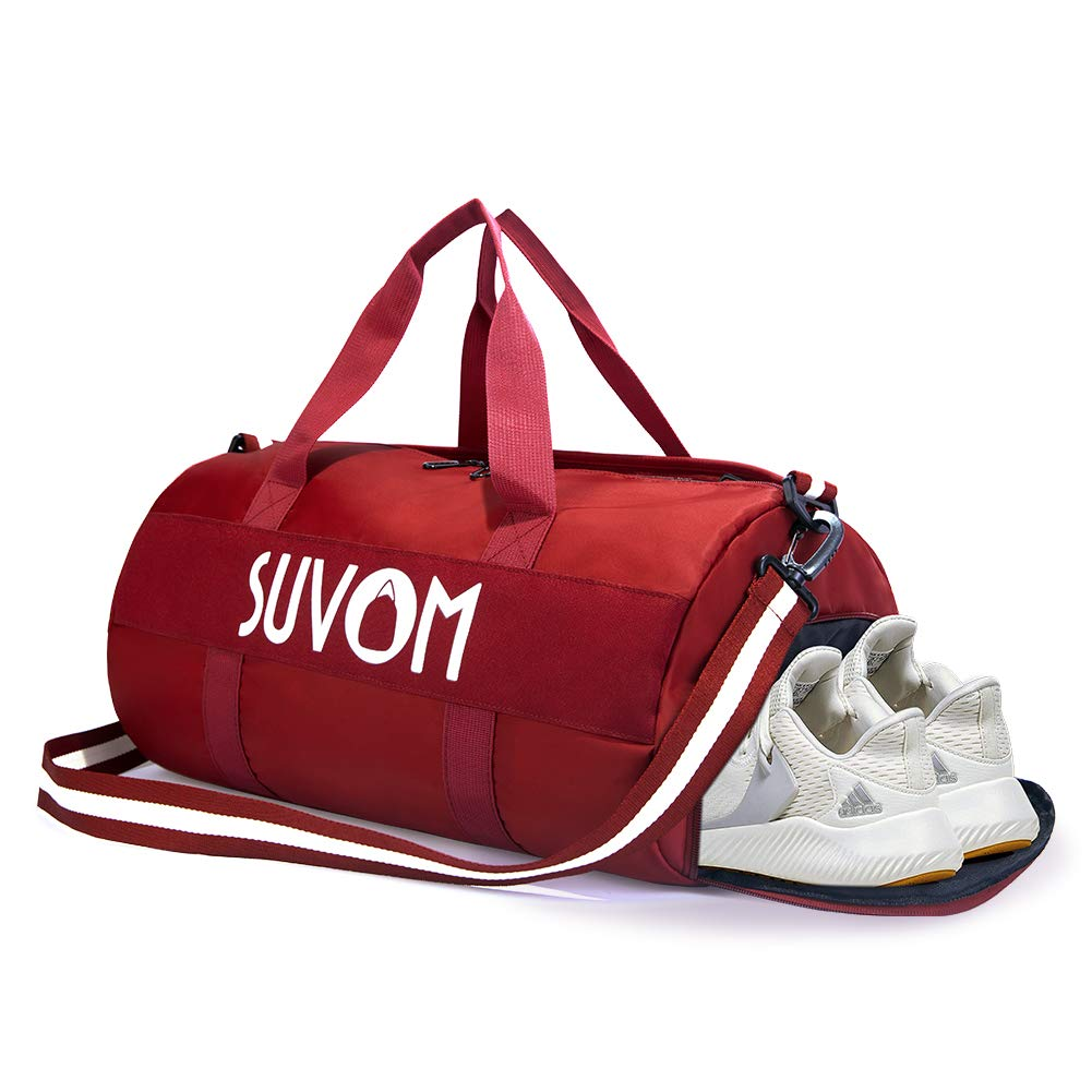 SUVOM 运动健身包带鞋隔层和干湿两用独立口袋旅行周末行李袋男女通用,32L 红色