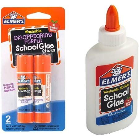 Elmer's bundle Washable Liquid School Glue, White, Dries Clear, 4 fl oz Plus Disappearing Purple Elmer's School Glue Stick, 7g, 2pk