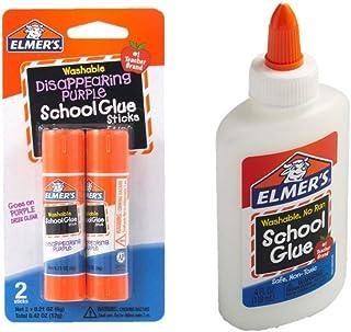Elmer's bundle Washable Liquid School Glue, White, Dries Clear, 4 fl oz Plus Disappearing Purple Elmer's School Glue Stic...