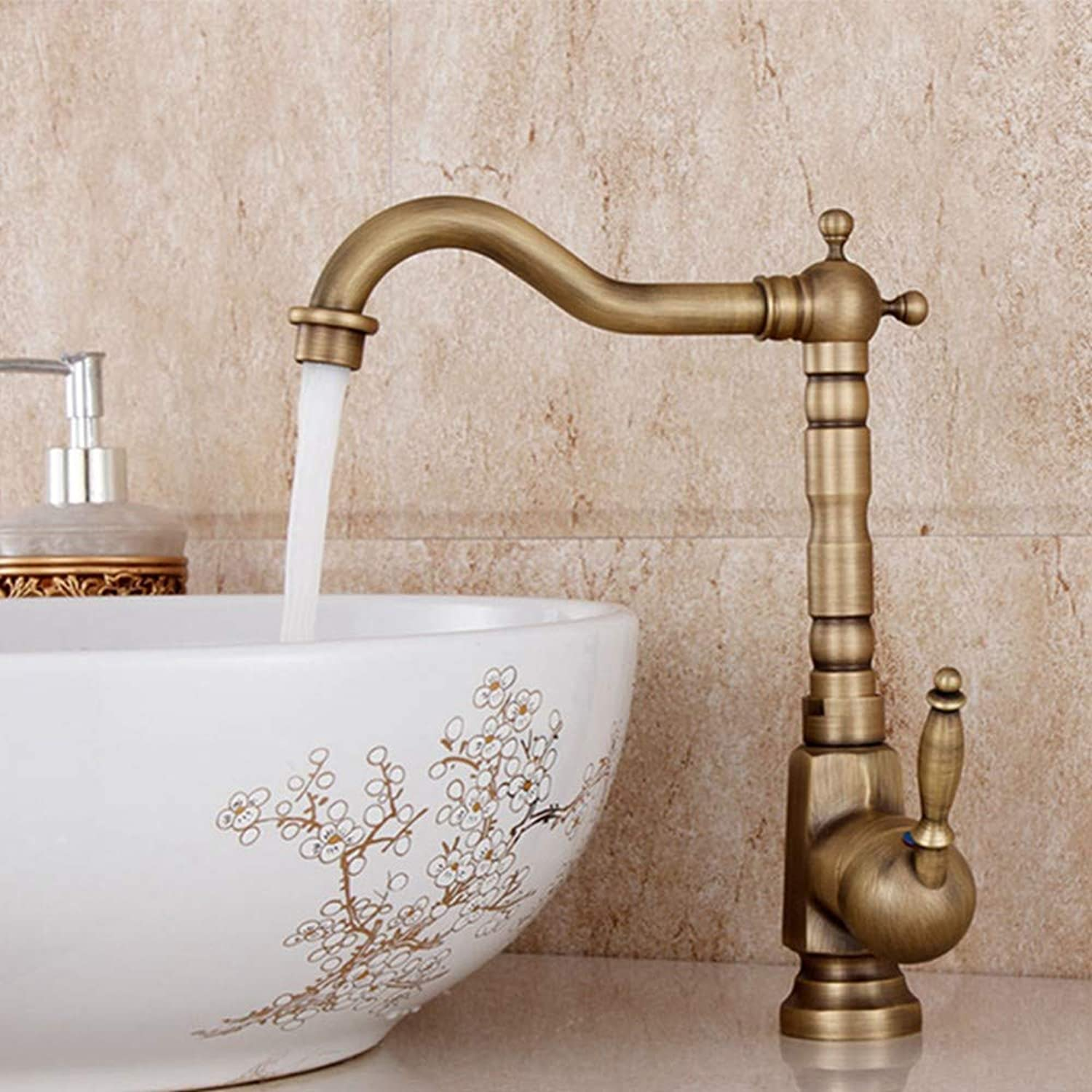 FZHLR Kitchen Faucet Antique Brass Sink Mixer Tap Hot and Cold Faucets 360 Degree Swivel Mixer Tap