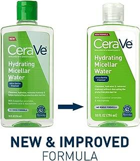 CeraVe Micellar 卸妆液/保湿面部洁面乳和卸妆液,带透明质酸,可去除粉底妆,防水睫毛膏,污垢和油,283.50 毫升