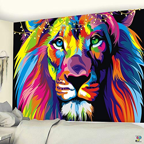 Tapiz para los hombres Anime león tapiz bohemio animal pintura al óleo arte pared toalla playa yoga manta pared hippie decoración