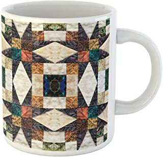 Semtomn Funny Coffee Mug Colorful Pattern Beautiful Quilt Star Motive Patchwork Home Artistic 11 Oz Ceramic Coffee Mugs Tea Cup Best Gift Or Souvenir