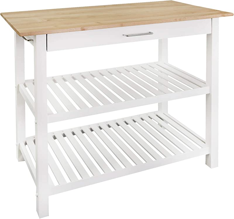 Casual Home Kitchen Island With Solid American Hardwood Top White