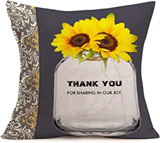 Smilyard Throw Pillow Covers Decorative Sunflower Flower Pillow Case Cotton Linen Floral with Bottle Say Thank You Pillowcase 18x18 Inches Outdoor Decor Home Sofa Couch(K-k 15)