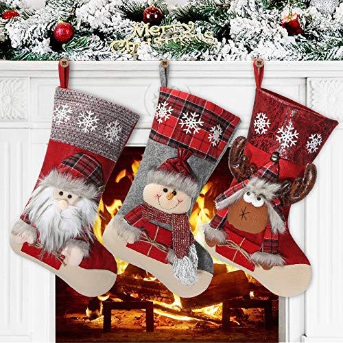 Awroutdoor Medias de Navidad, 3 pcs Calcetines de Navidad para el árbol de Navidad Chimenea Decoración, Adorno de Navidad Bolsa de Dulces, Calcetín de Decoración Navideña para Llenar y Colgar