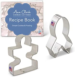 Ann Clark Cookie Cutters 2-Piece Awareness Cookie Cutter Set with Recipe Booklet, Awareness Ribbon and Autism Puzzle Piece