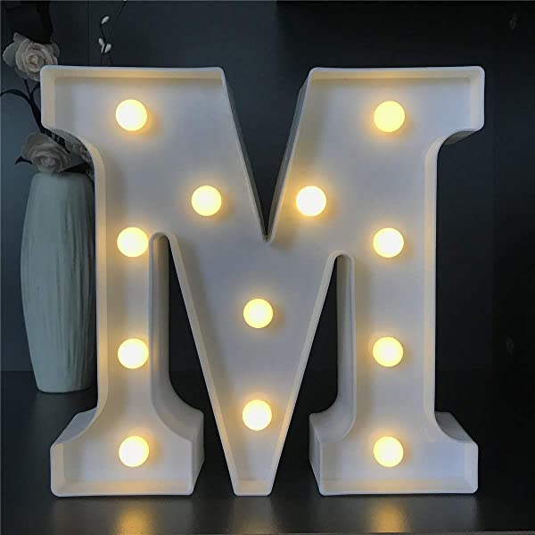LED Marquee Letter Lights Sign 26 Alphabet Light Up Marquee Letters Sign For Night Light Wedding Birthday Party Battery Powered Christmas Night Light Lamp Home Bar Decoration M