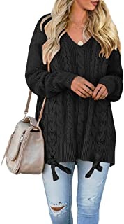 Womens Pullover Sweaters Plus Size Cable Knit V Neck Lace...
